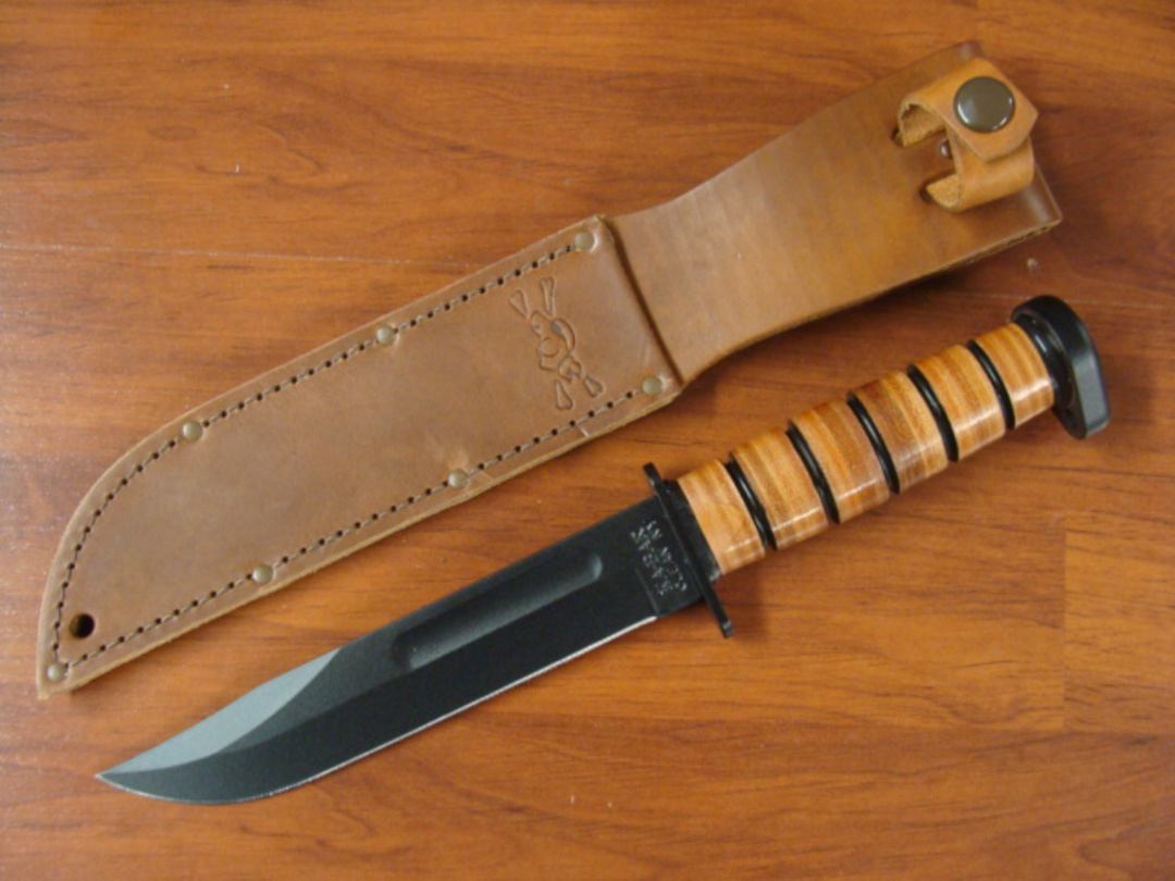 "KA-BAR 1317 Dog's Head Utility Knife 7"" - Leather Sheath - Plain Edge image 0"