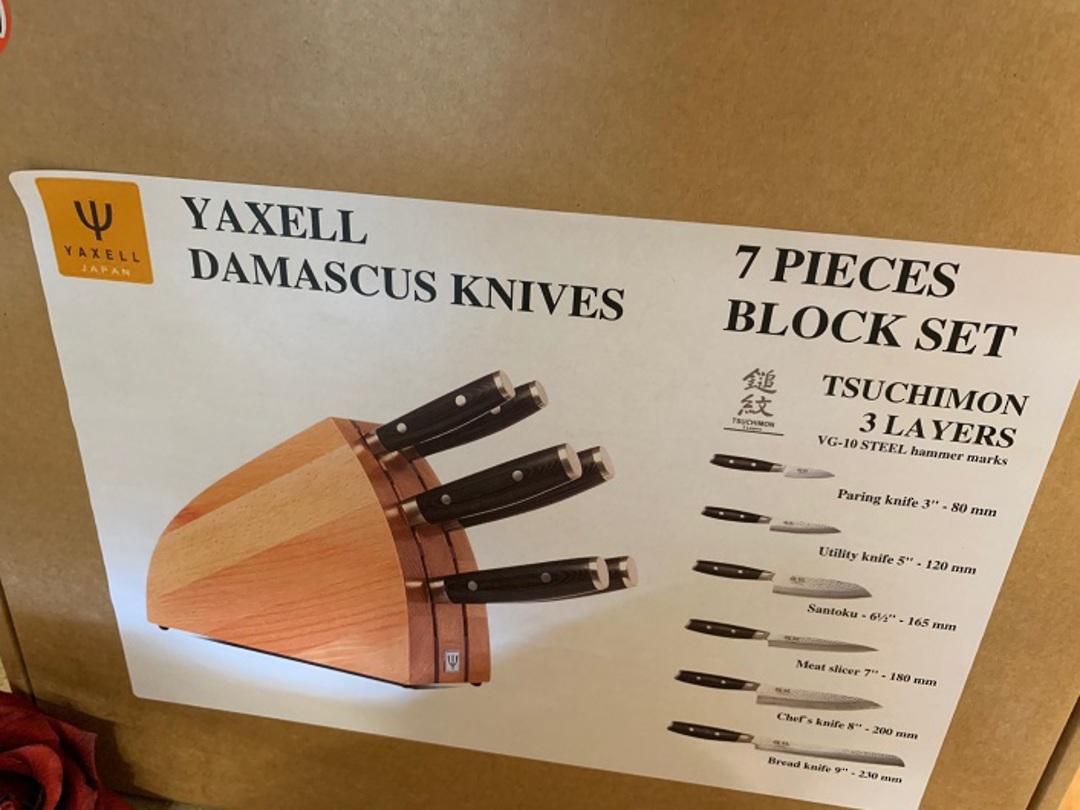 YAXELL TSUCHIMON JAPANESE DAMASCUS 7 PCE KNIFE SET image 0