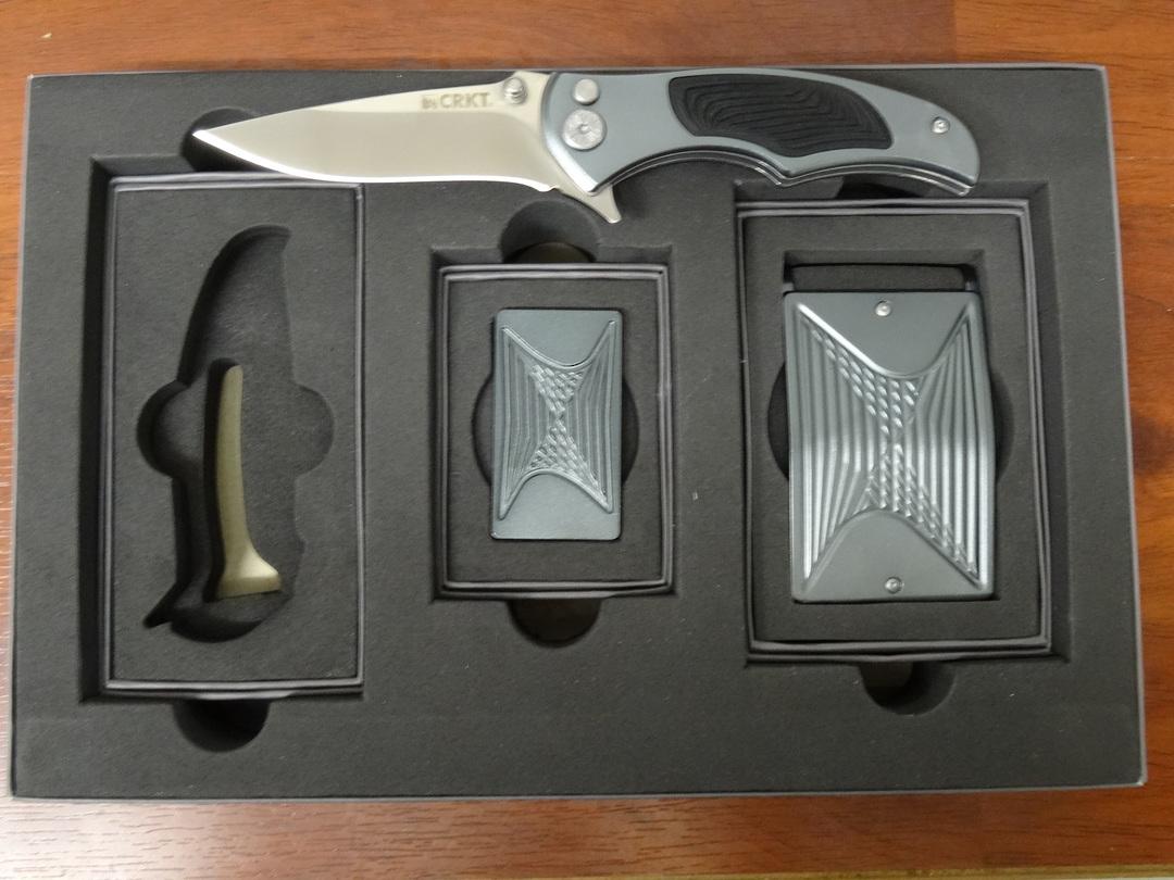 CRKT Tighe Coon Gray Aluminum Folding Knife Box set - 5270SET image 0