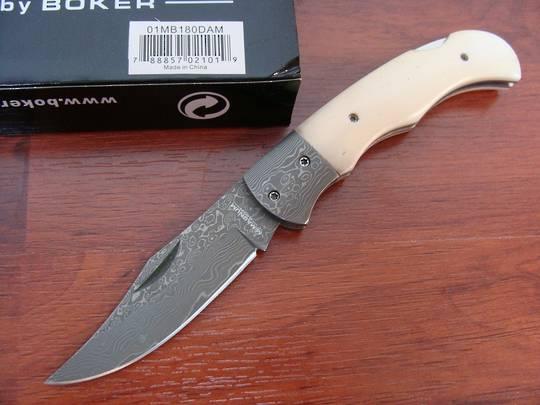Boker Magmnum Damascus Bone Folding Knife