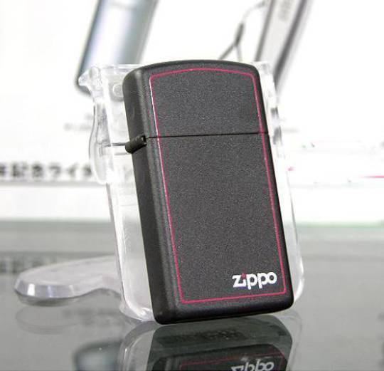 Zippo Slim Black Matte with Logo / boarder Lighter