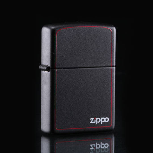 Zippo Black Matte w/ Border Lighter