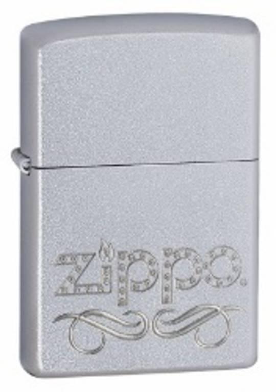Zippo Scroll Satin Chrome Lighter