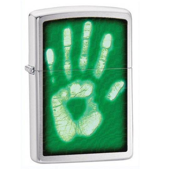 Zippo Identity Hand Print, Brushed Chrome Lighter