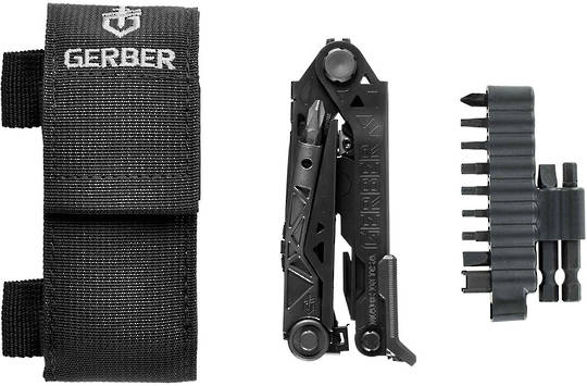 Gerber Center-Drive Black Multi-Tool with M4 Bit Set, Black Berry-Compliant Sheath