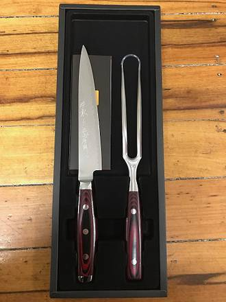 Super GOU Japanese Damascus  Slicing Knife & Fork Knife Set