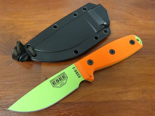 ESEE Venom Green Plain Edge Blade w/ Blaze Orange G10 Fixed Knife - 3PM-VG