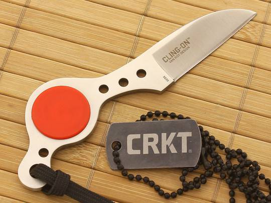 CRKT Ed Van Hoy Cling-On Fixed Satin Wharncliffe Blade, Leather Sheath