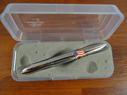 Fisher Space Bullet Pen Chrome Bullet w/ American Flag