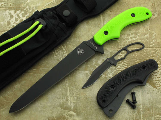 KA-BAR ZK Zombie Killer Death Fixed Black Blade and Green GFN Handles