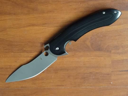 Spyderco Javier Vogt Tropen Flipper Knife, Polished Black G10 Handles