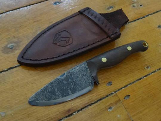 "Condor Kimen Fixed Blade Knife 3.19"" 1095 Carbon Steel, Walnut Wood Handles, Welted Leather Sheath"
