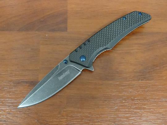 Kershaw Halogen Flipper Blackwashed Blade, Carbon Fiber Over G10 Handles