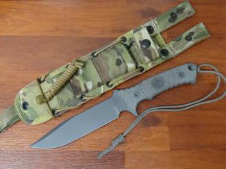 Chris Reeve Pacific Combat Knife Fixed, Micarta Handles, Camo Nylon Sheath
