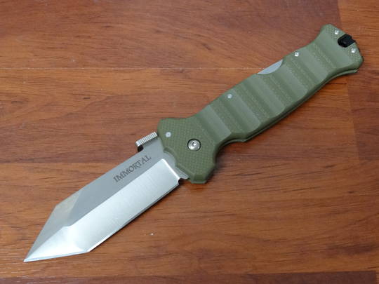 Cold Steel Immortal Folding Knife CTS-XHP Plain Blade, OD Green G10 Handles