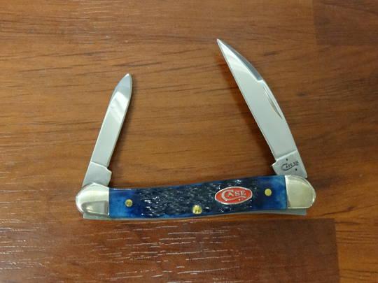 Case Cutlery Navy Blue Bone SS Mini Copperhead Pocket Knife - 7062