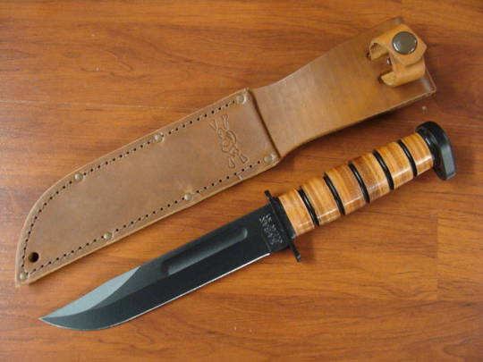 "KA-BAR 1317 Dog's Head Utility Knife 7"" - Leather Sheath - Plain Edge"