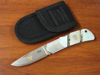 Fallkniven Tre Kronor 3 Folding Knife, Mother of Pearl Handles