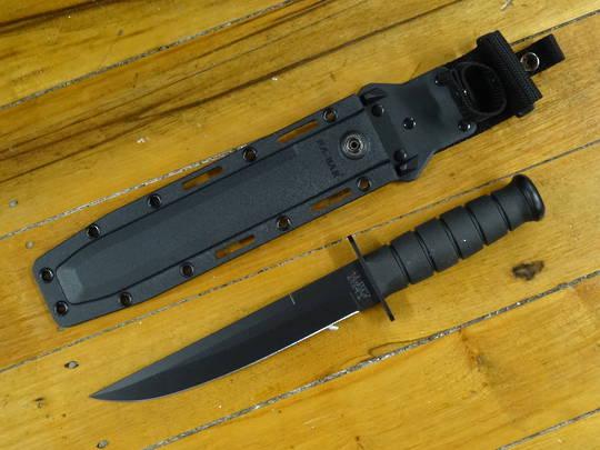 Black GFN Handle Black Blade Plain Kabar Becker Combat Bowie