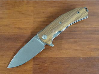 LionSteel KUR Flipper Knife Stonewashed Blade, Santos Wood Handles