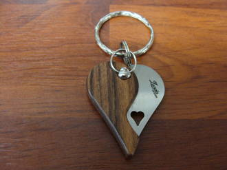 LionSteel LionBeat Heart-Shaped Keychain Folding Knife, Santos Wood Handle