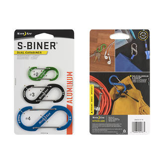 NITE IZE S-BINER ALUMINUM DUAL CARABINER SET OF 3 ASSORTED COLOURS