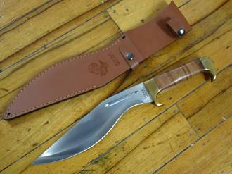 United Cutlery USMC Kukri Knife, Stacked Leather Handle, Leather Sheath