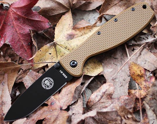 ESEE Zancudo Framelock Black Blade Brown Folding Knife