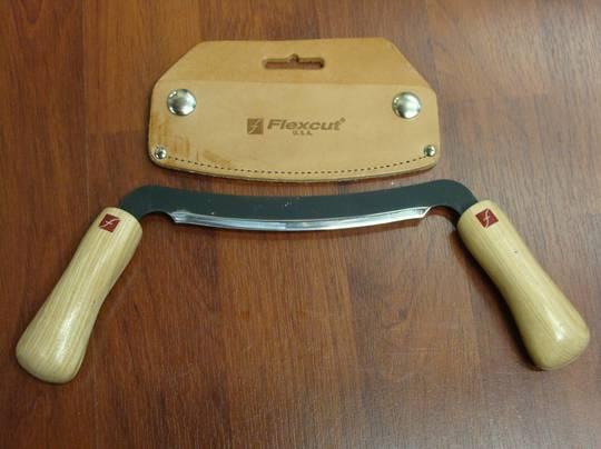"""Flexcut 5"""" Draw Knife w/ Leather Sheath KN16"""
