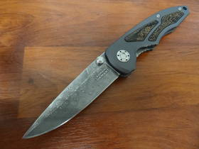 Boker Leopard Damascus I Folding Knife Aluminum Handles with Ziracote Wood Inlays - 110084DAM no box