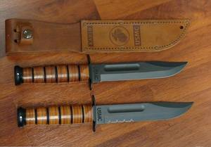 KA-BAR USMC Fighter Plain/Combo edge Knife - Leather Sheath - Serrated  Edge