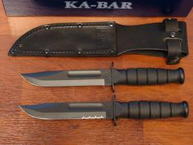 KA-BAR Short Plain/serrated Edge Knife - Leather Sheath