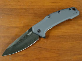 Kershaw Link Assisted Flipper Knife Damascus Plain Blade, Gray Aluminum Handles