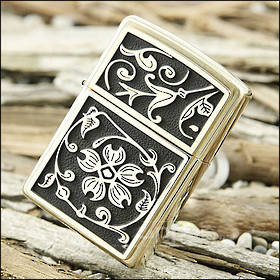Zippo Gold Floral Flush Lighter