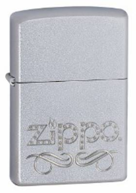Zippo Scroll Satin Chrome Lighter
