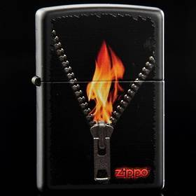 ==FREE FUEL==Zippo Zipped Black Matte Lighter