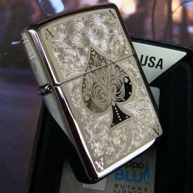 Zippo Ace Filigree, Black Ice Lighter