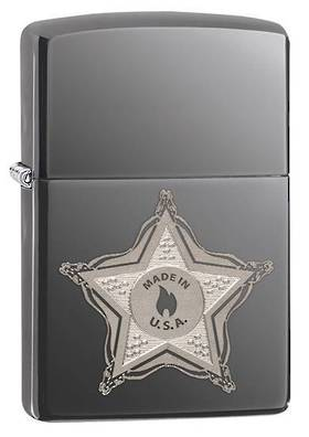 Zippo Skull Badge Black Ice Lighter