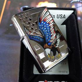 Zippo Eagle Flag, High Polish Chrome Lighter