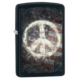 Zippo Peace Sign and Flag - Black Matte Lighter