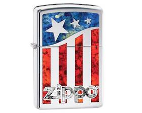 2 x Zippo US Flag Polished Chrome Lighter