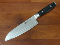 RAN PLUS Japanese Damascus Santoku Knife Ground Hollow 165mm
