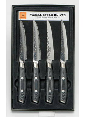 YAXELL TSUCHIMON JAPANESE DAMASCUS STEAK KNIFE 4 Pce Set