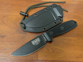 ESEE  PLAIN EDGE BLACK MOLLE SHEATH G-10 FIXED KNIFE - 3MILPBLK