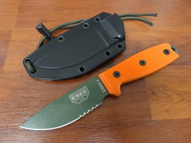 Esee Part Serrated Olive Drab Drop Point Orange G10 Handle Black Molded Sheath Knife - 3SOD