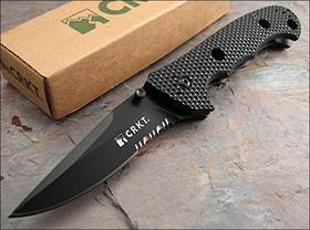 CRKT Hammond Cruiser Clip Point Folding Knife Black Blade Combo edge