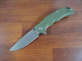 "Artisan Tradition Flipper Knife 3.94"" D2 Stonewashed Blade, Green G10 Handles"