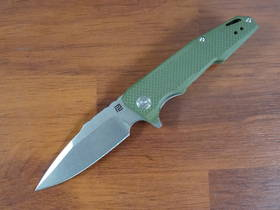 Artisan Predator Flipper Knife D2 Stonewashed Drop Point Blade, Green G10 Handles