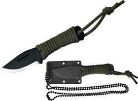 Condor Fidelis Neck Knif Carbon Steel Blade, Paracord Wrapped Handle, Kydex Sheath