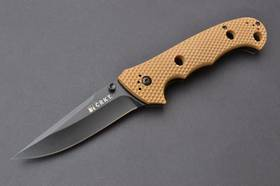 CRKT Hammond Cruiser Clip Point Folding Knife Tan Handle Black Blade